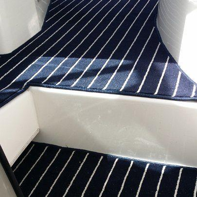 Marine Carpet Teak Navy Cream Boat Fitout