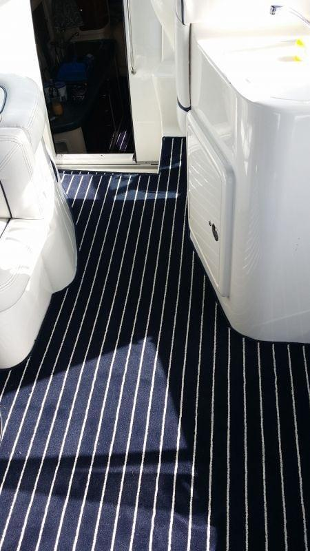 Marine Carpet Teak Navy Cream
