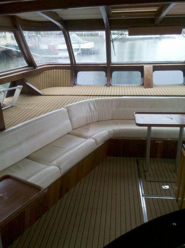 Inside boat cabins and living areas.