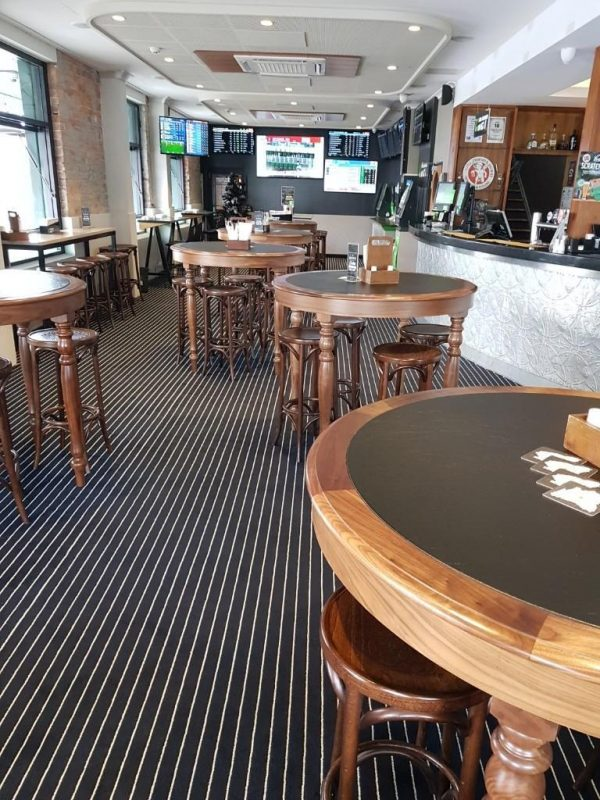 Marine Carpet Teak Navy Cream Queens Arms Hotel
