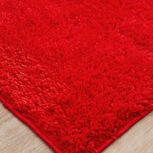 Red Red Coloured Shaggy Pile Rug