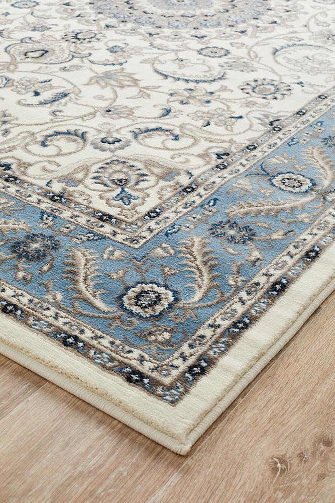 Blue Traditional Rug Colour White With Blue Border