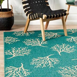 Green Coral Reef Outdoor Rug
