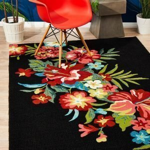 Black Bouquet Rug