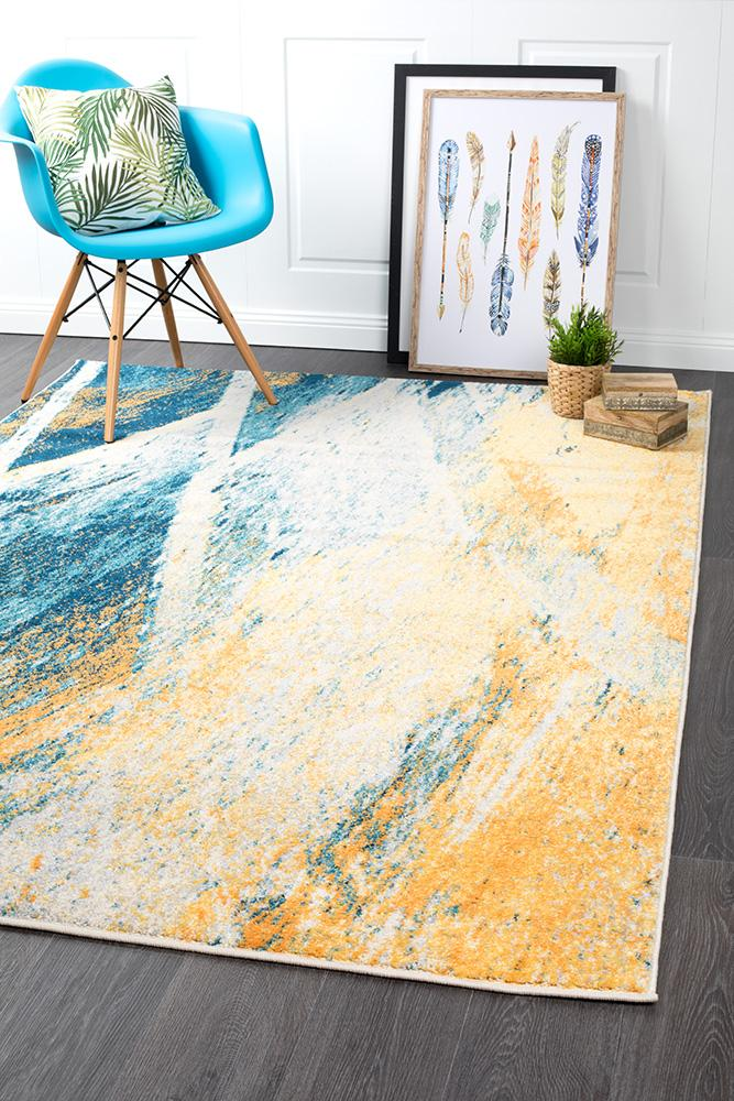 Blue Lively Colour Modern Rug Carpet Capers