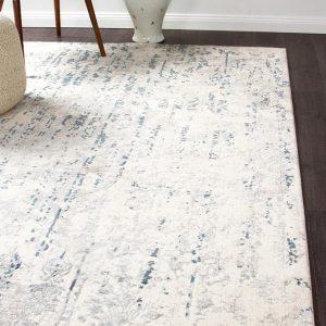 White Contemporary Area Rug | Colour White/Blue/Grey