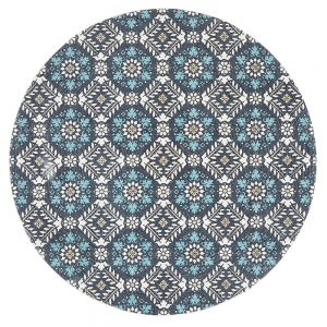 Blue Braided Cotton Turkish Tile Design Round Rug
