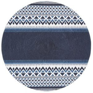 Navy Braided Cotton Abstract Navy White Round Rug