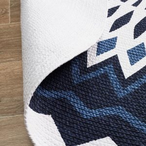 Navy Round Floor Rug Braided Cotton Colour Navy/White