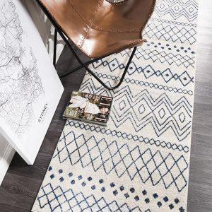 White Floor Rug   Tribal Design